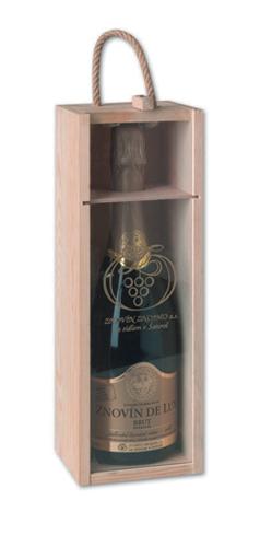Dřevěná bedýnka se sklem na sekt 1 ks lahve 0,75 l