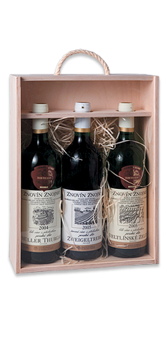 Dřevěná bedýnka na 3 ks lahví 0,75 l
